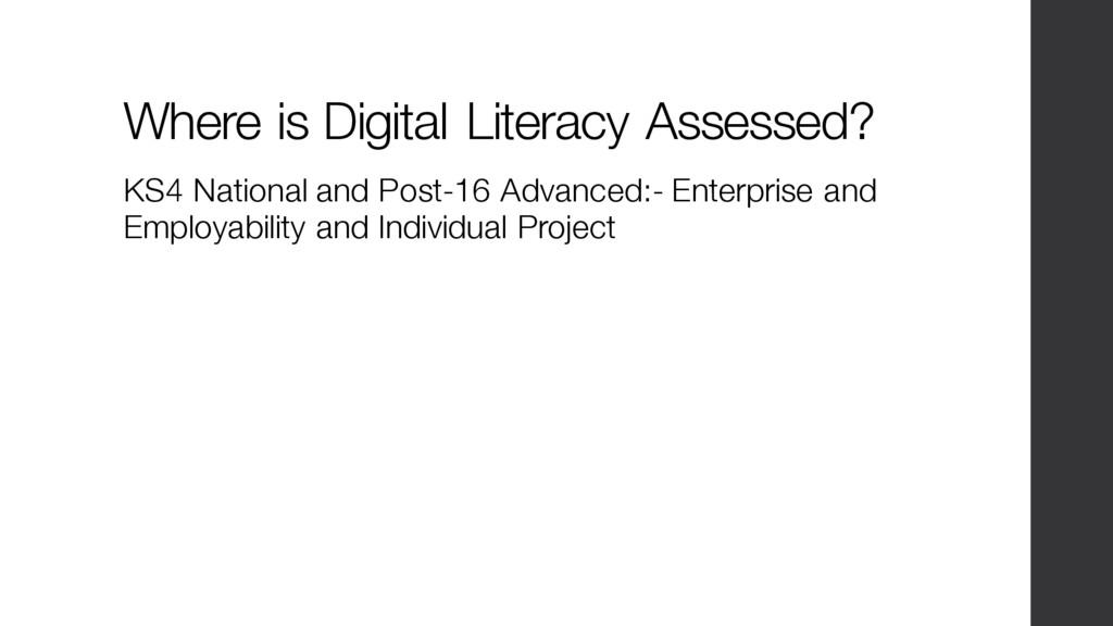 Where is Digital Literacy Assessed? KS4 Nationa...