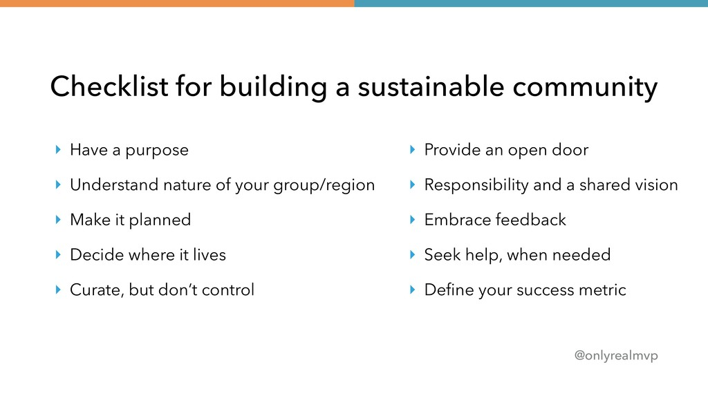 @onlyrealmvp Checklist for building a sustainab...