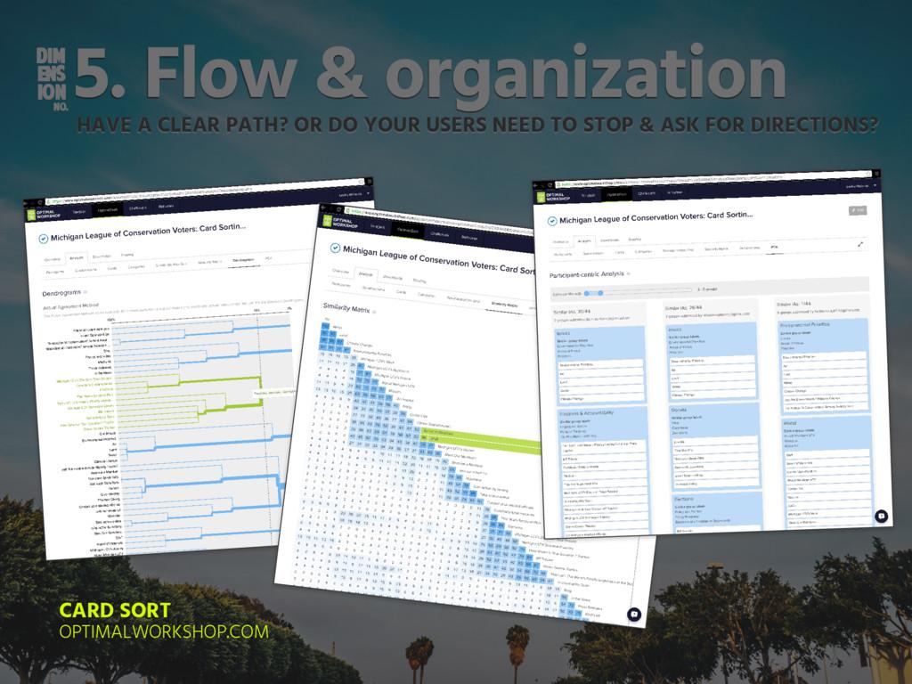 DIM ENS ION NO. 5. Flow & organization HAVE A C...
