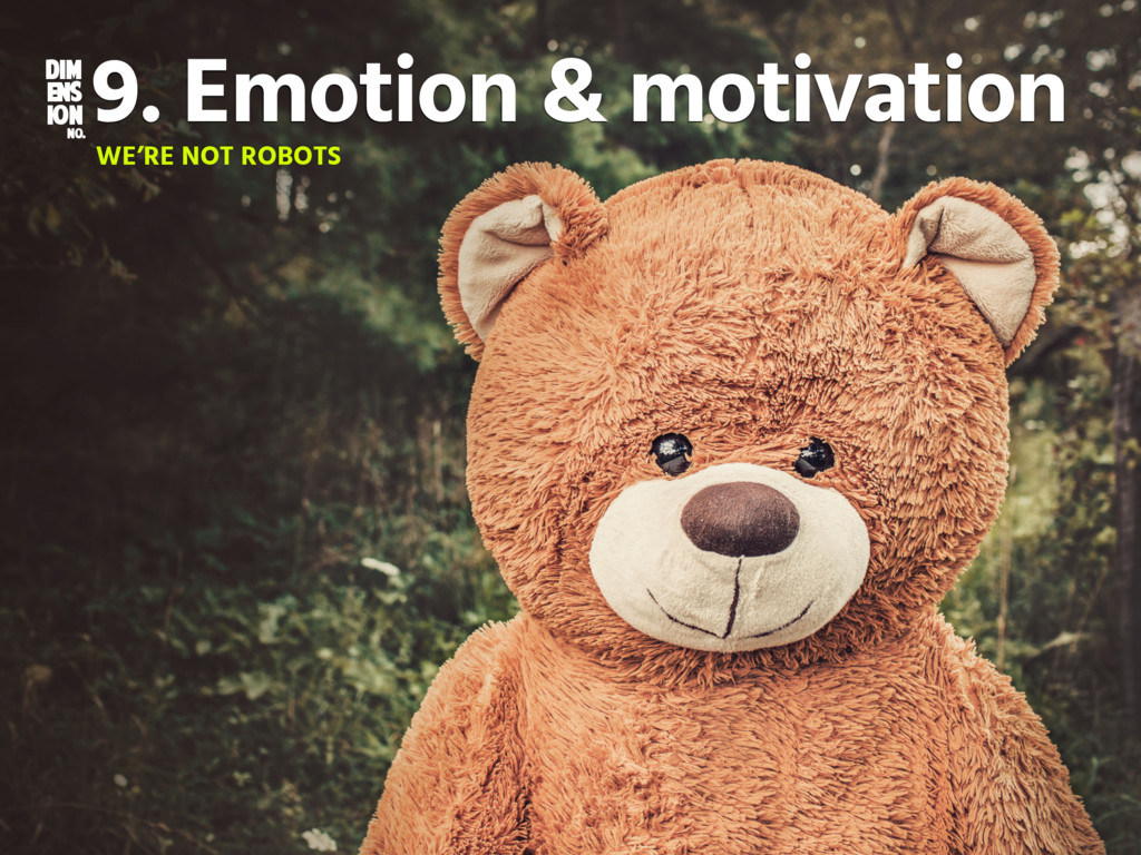 DIM ENS ION NO. 9. Emotion & motivation WE'RE N...