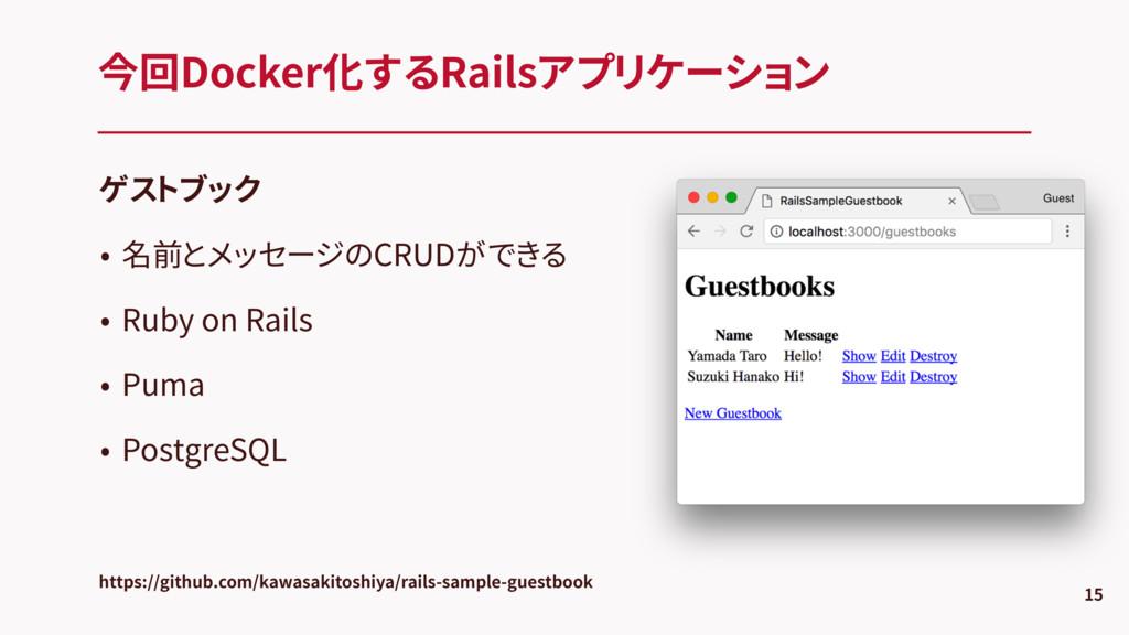 ゲストブック • 名前とメッセージのCRUDができる • Ruby on Rails • Pu...