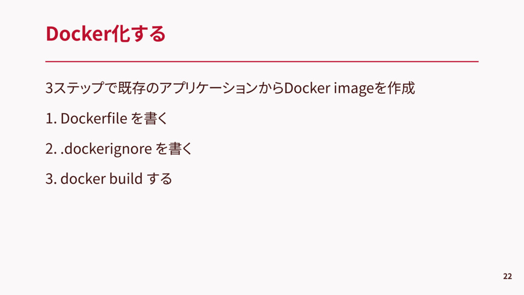 3ステップで既存のアプリケーションからDocker imageを作成 1. Dockerfile...
