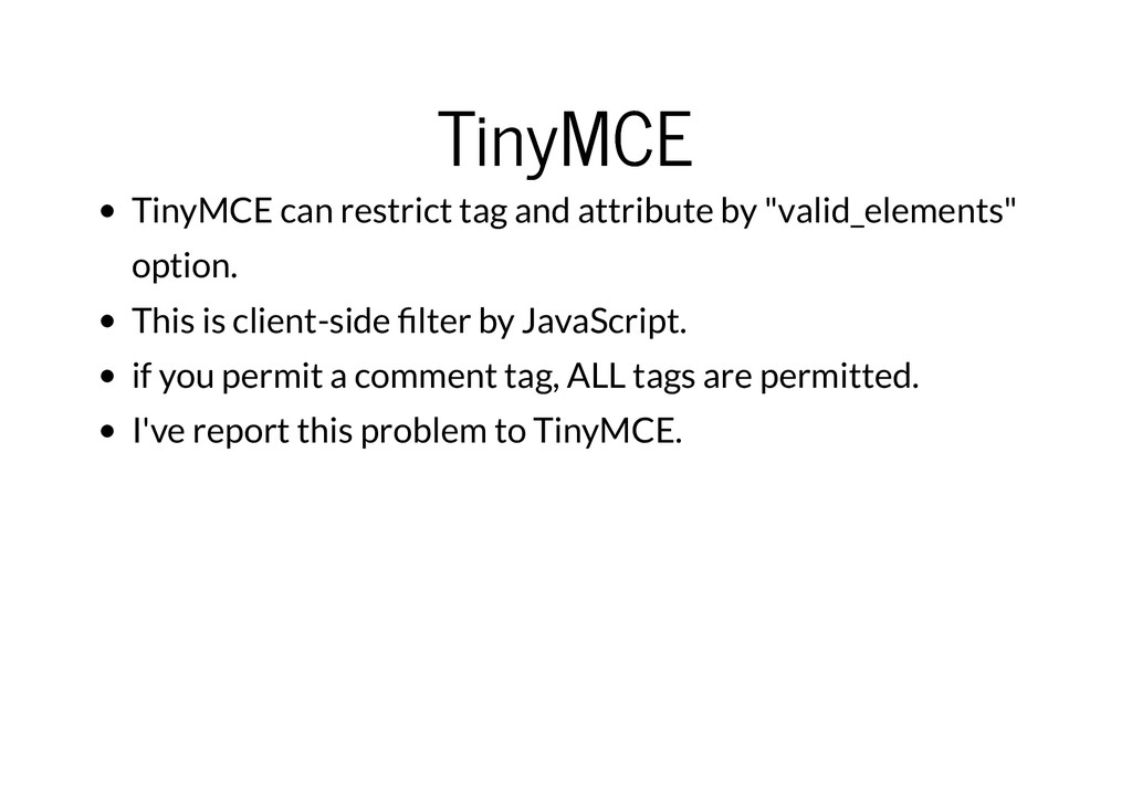 TinyMCE TinyMCE TinyMCE can restrict tag and at...