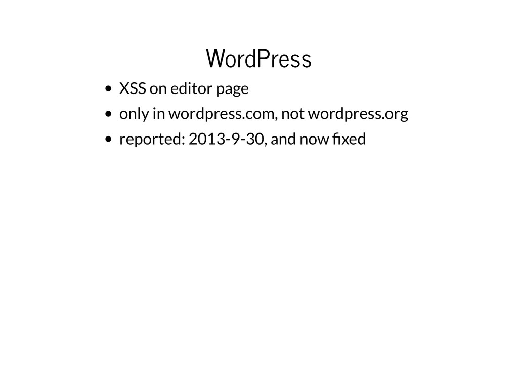 WordPress WordPress XSS on editor page only in ...