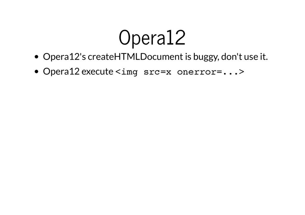 Opera12 Opera12 Opera12's createHTMLDocument is...