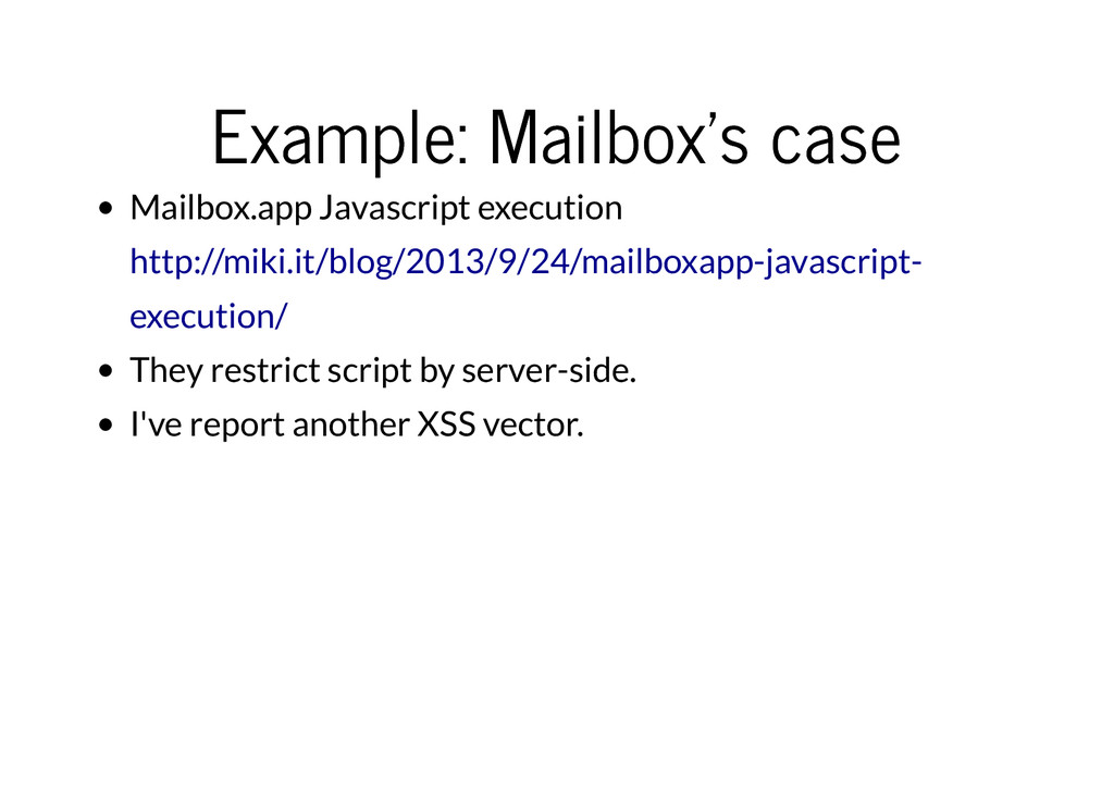 Example: Mailbox's case Example: Mailbox's case...