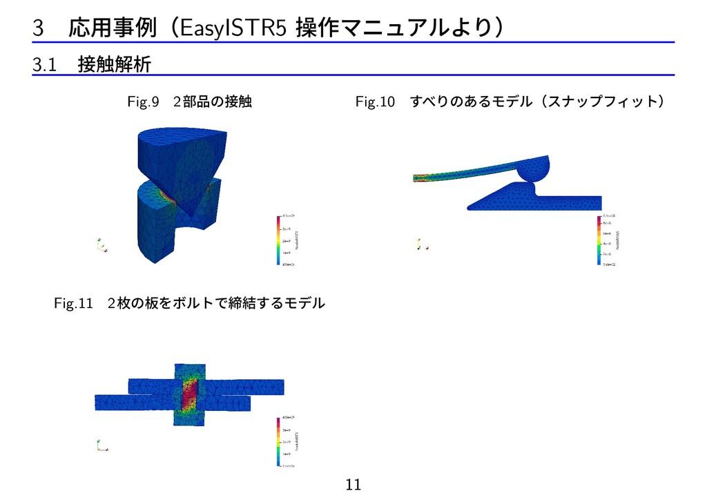 3 応用事例(EasyISTR5 操作マニュアルより) 3.1 接触解析 Fig.9 2部品の...