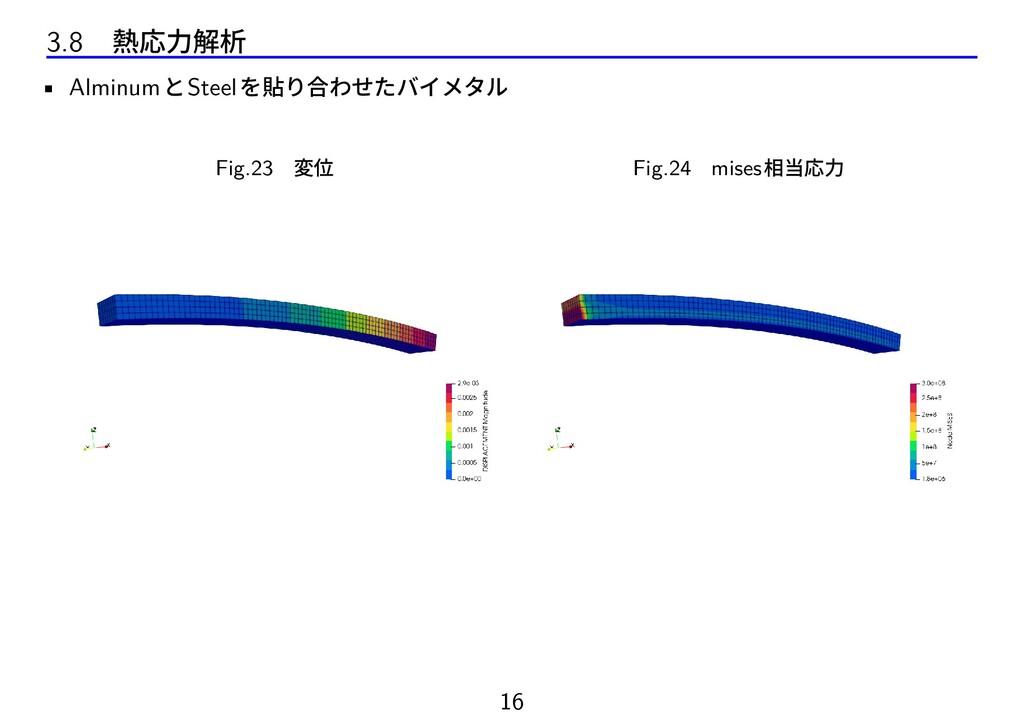 3.8 熱応力解析 • AlminumとSteelを貼り合わせたバイメタル Fig.23 変位...
