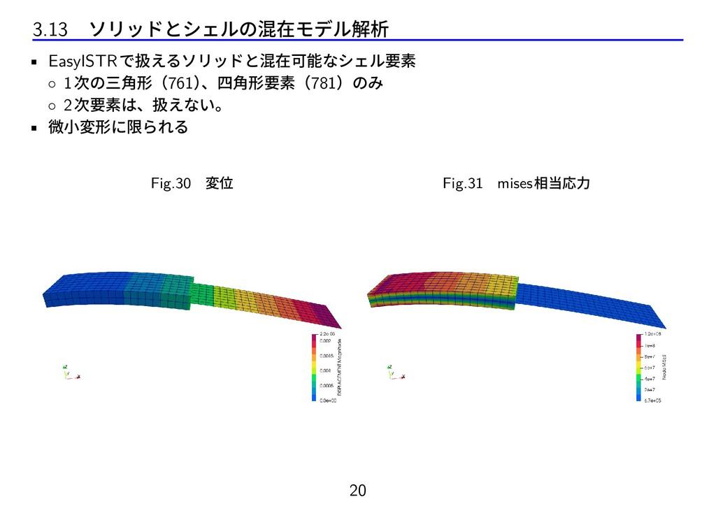 3.13 ソリッドとシェルの混在モデル解析 • EasyISTRで扱えるソリッドと混在可能なシ...