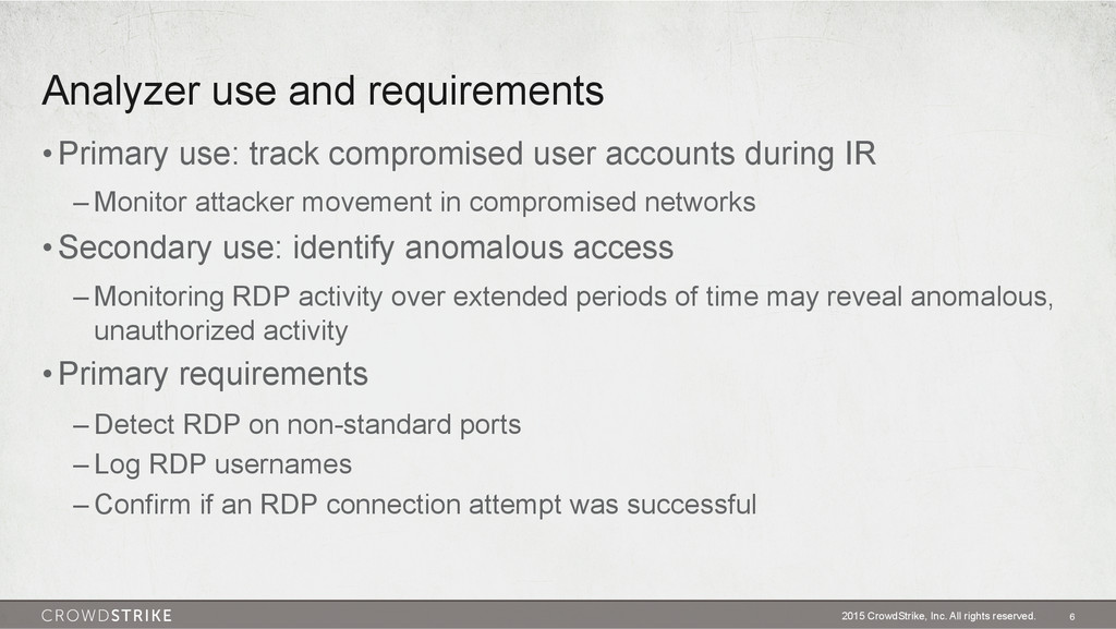 Analyzer use and requirements 2015 CrowdStrike,...