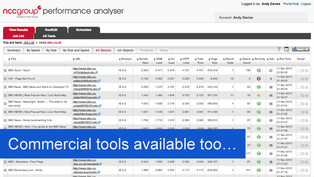 Commercial tools available too…