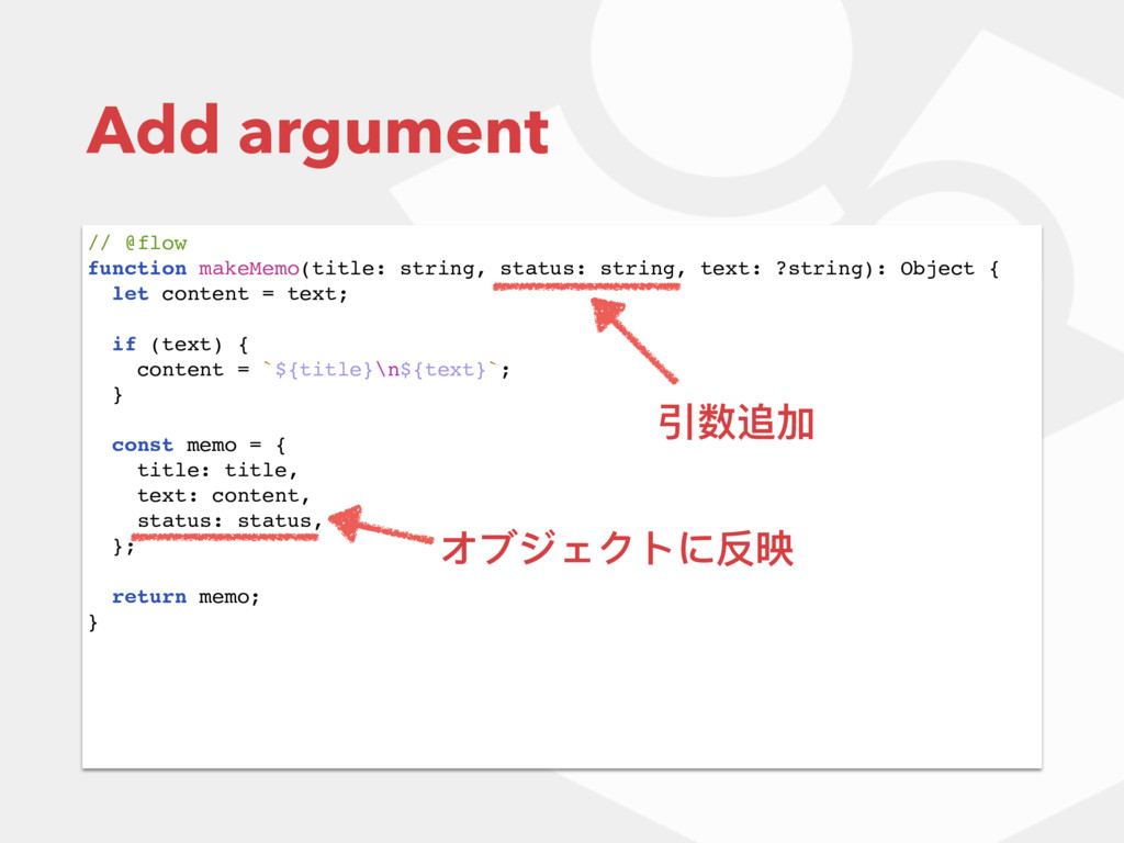 Add argument // @flow function makeMemo(title: ...