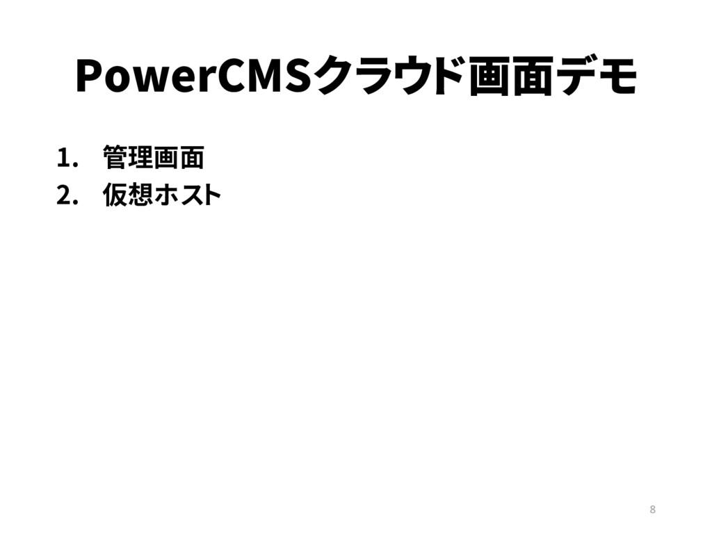 PowerCMSクラウド画面デモ 1. 管理画面 2. 仮想ホスト 8