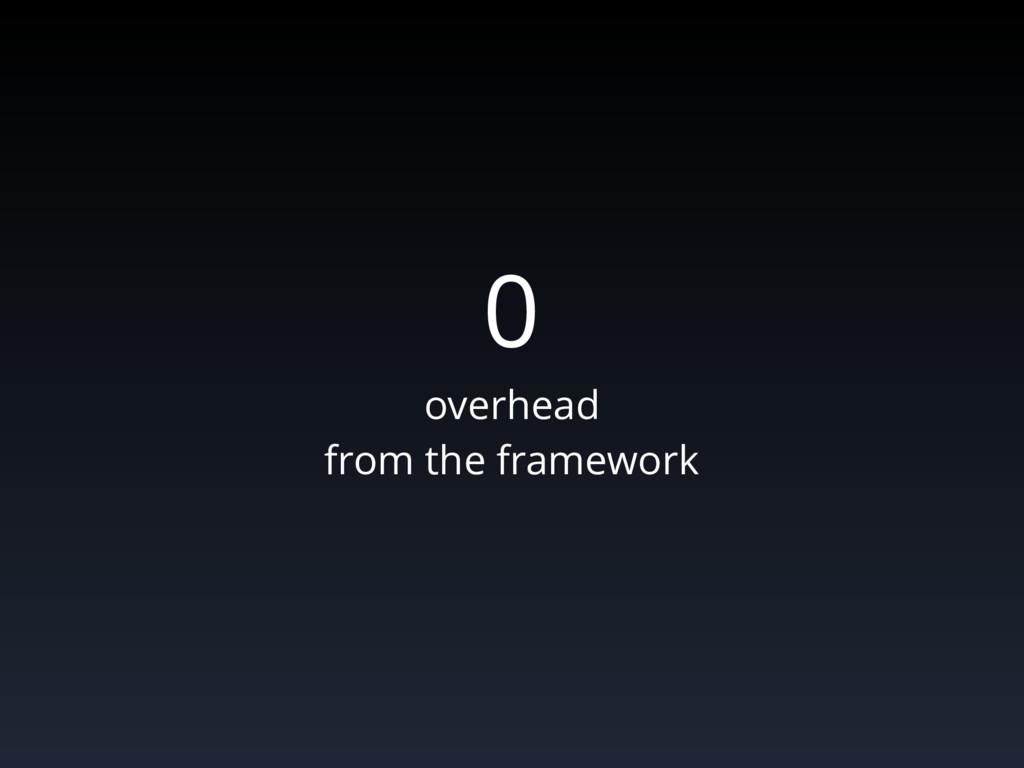 0 overhead from the framework