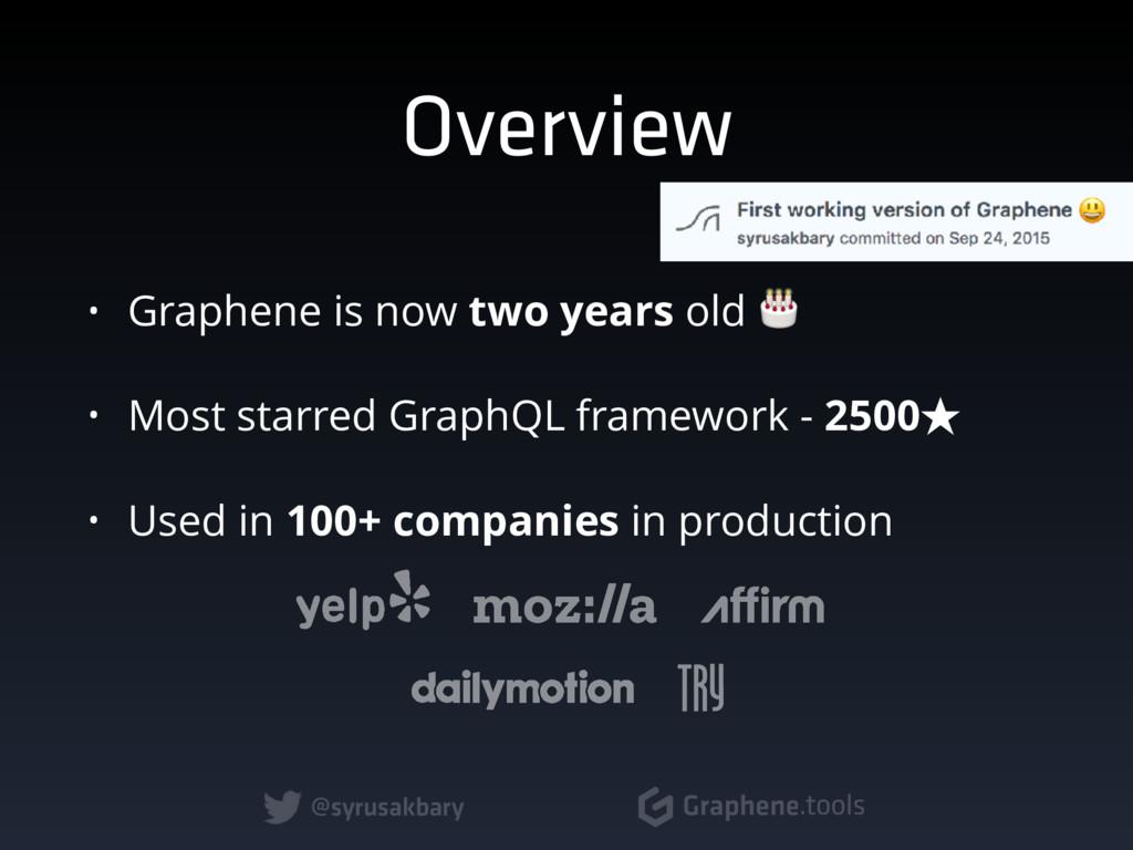 @syrusakbary Graphene.tools Overview • Graphene...