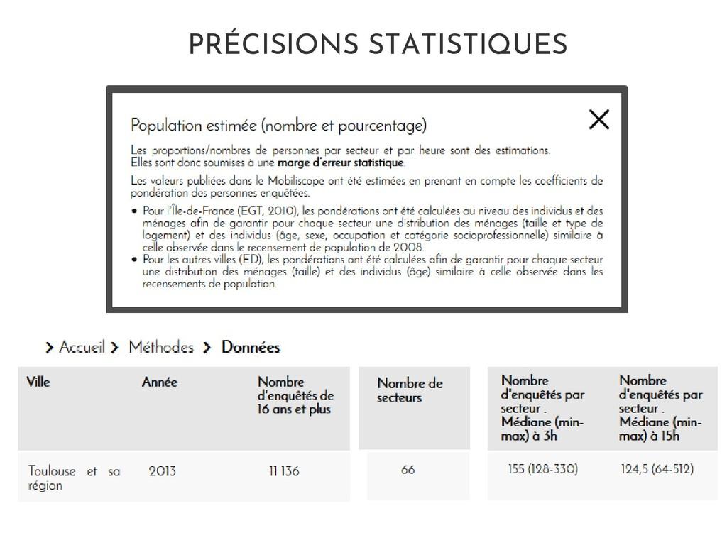 PRÉCISIONS STATISTIQUES