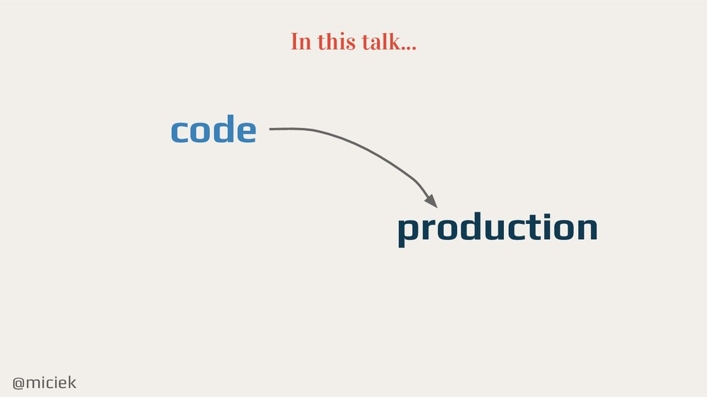 @miciek In this talk... code production