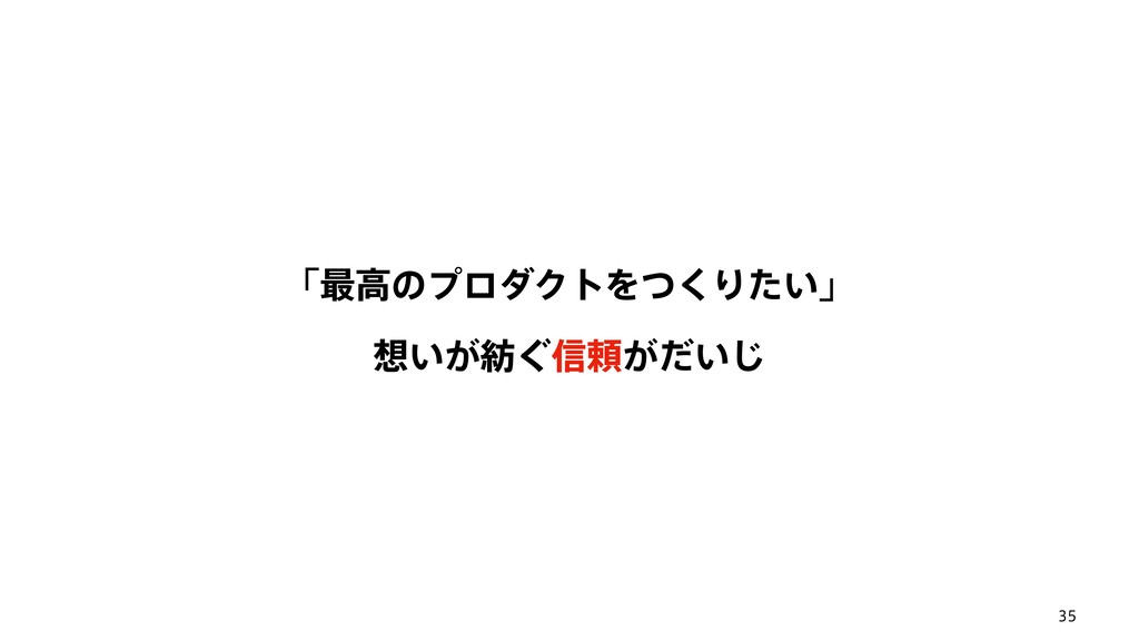 35 ʮ࠷ߴͷϓϩμΫτΛͭ͘Γ͍ͨʯ ͍͕͙৴པ͕͍ͩ͡