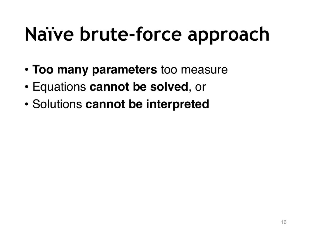 Naïve brute-force approach • Too many parameter...