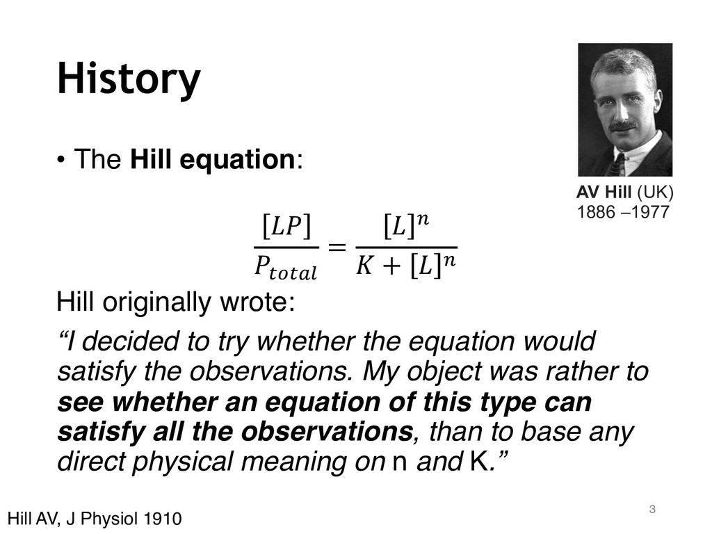 """History • The Hill equation: !"""" """"#$#%& = ! ( ) ..."""