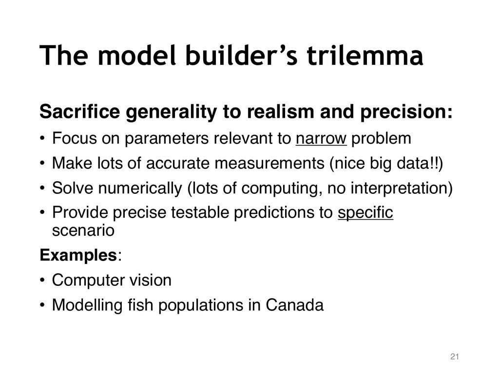 The model builder's trilemma Sacrifice generali...