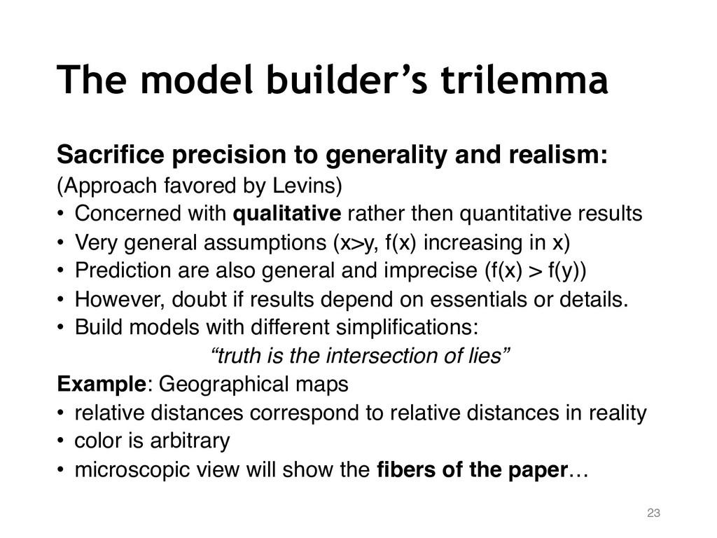 The model builder's trilemma Sacrifice precisio...