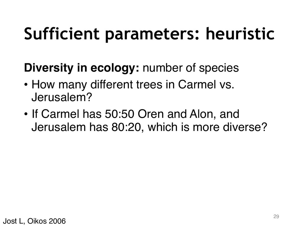 Sufficient parameters: heuristic Diversity in e...