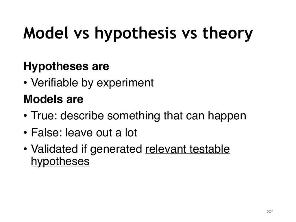 Model vs hypothesis vs theory Hypotheses are • ...