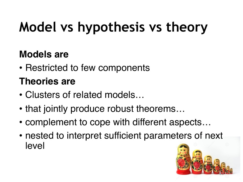 Model vs hypothesis vs theory Models are • Rest...