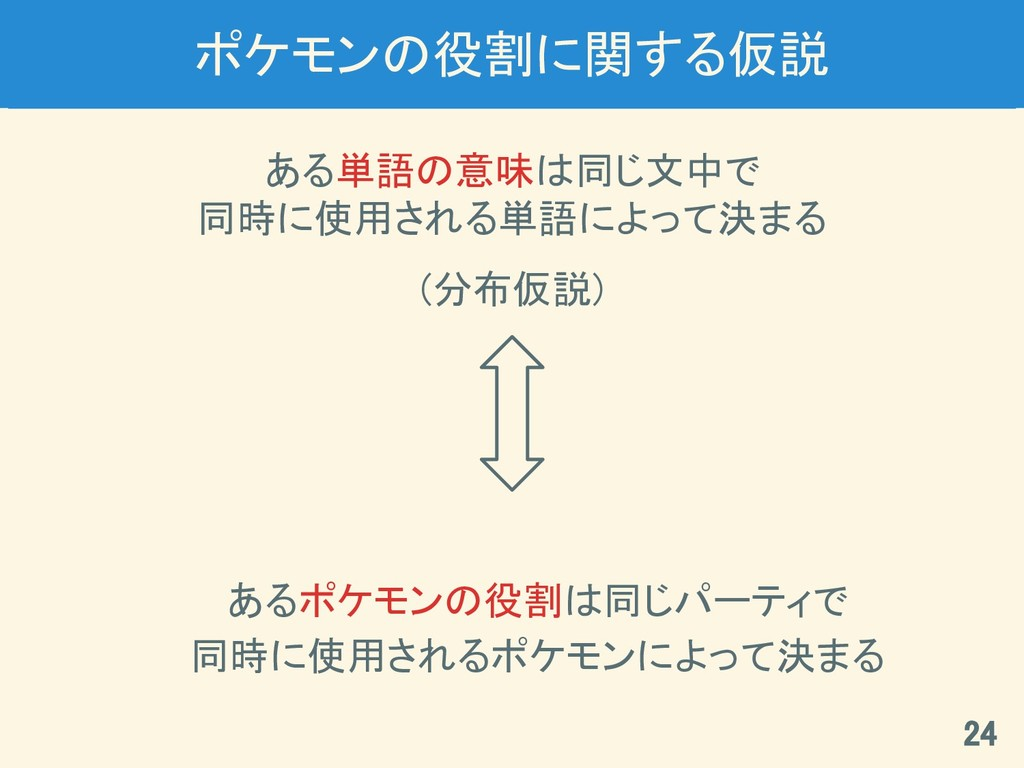 ポケモンの役割に関する仮説 ある単語の意味は同じ文中で 同時に使用される単語によって決まる (...
