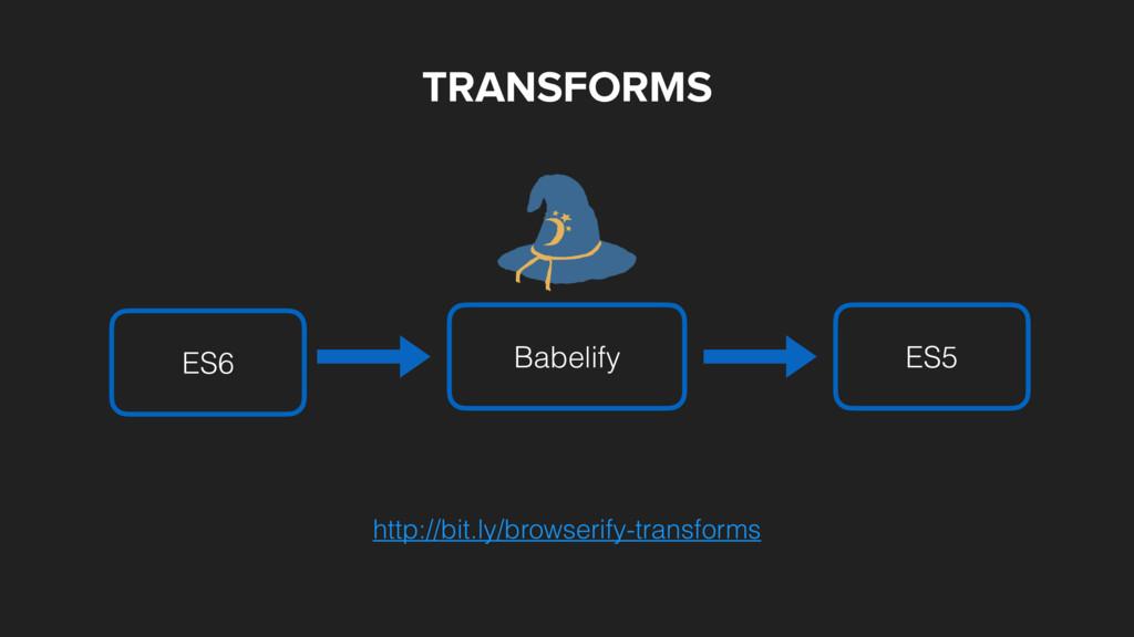 TRANSFORMS Babelify ES6 ES5 http://bit.ly/brows...