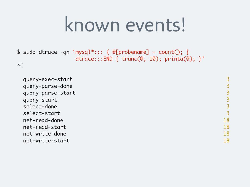 known events! $ sudo dtrace -qn 'mysql*::: { @[...