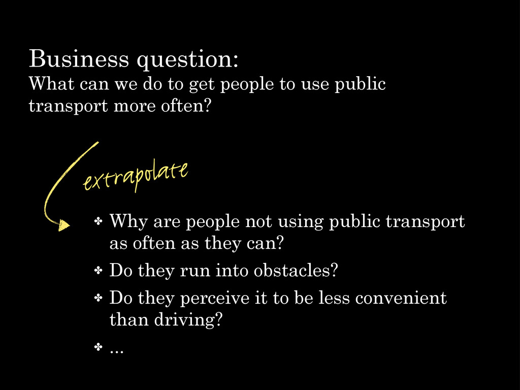 Business question: What can we do to get people...