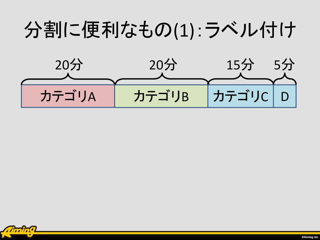 分割に便利なもの(1):ラベル付け カテゴリA 20分 カテゴリB カテゴリC D 20分 1...