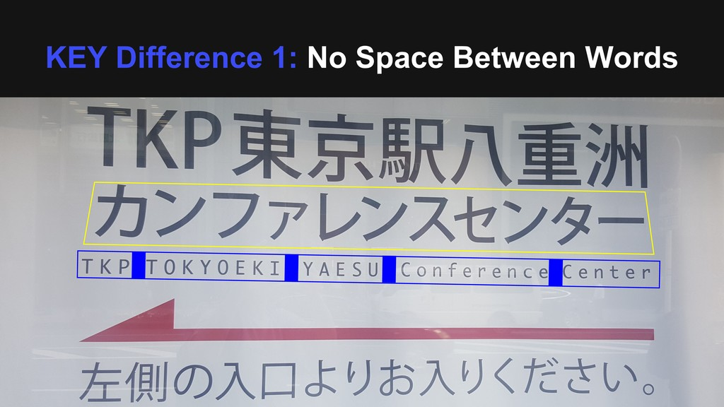 KEY Difference 1: No Space Between Words
