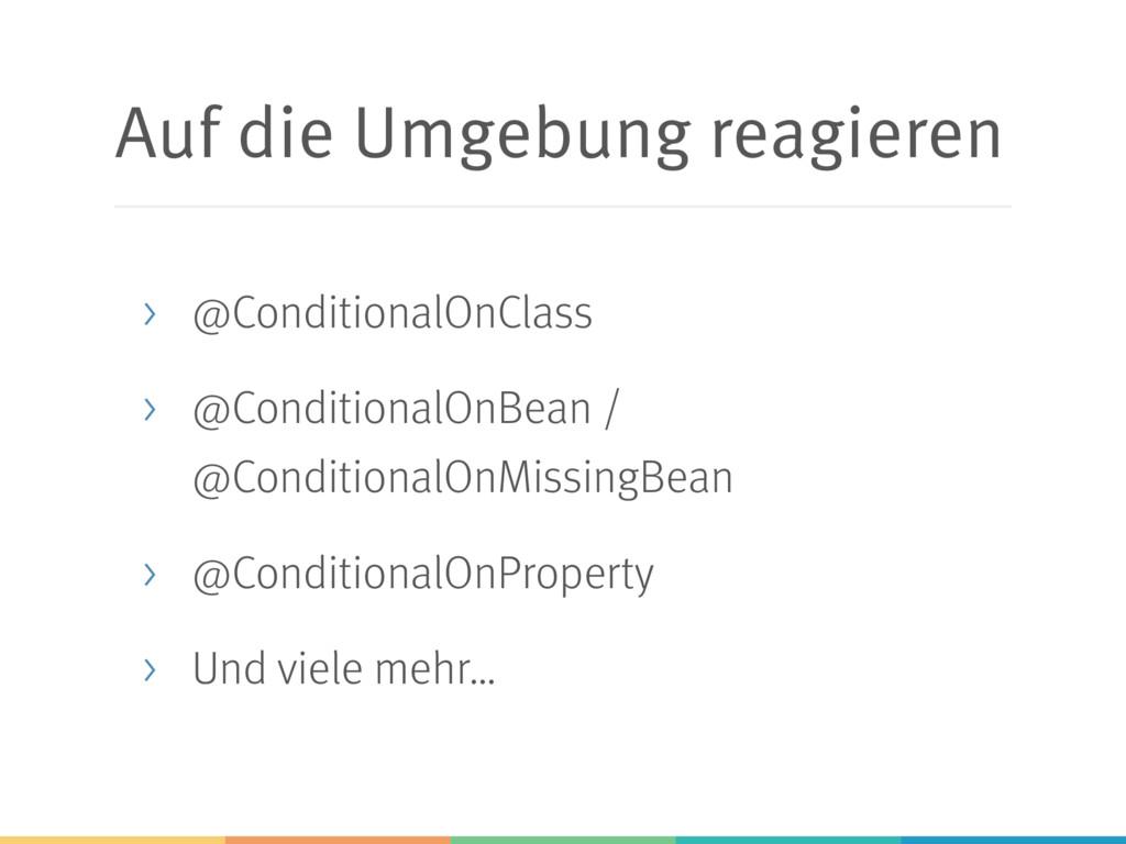 Auf die Umgebung reagieren > @ConditionalOnClas...