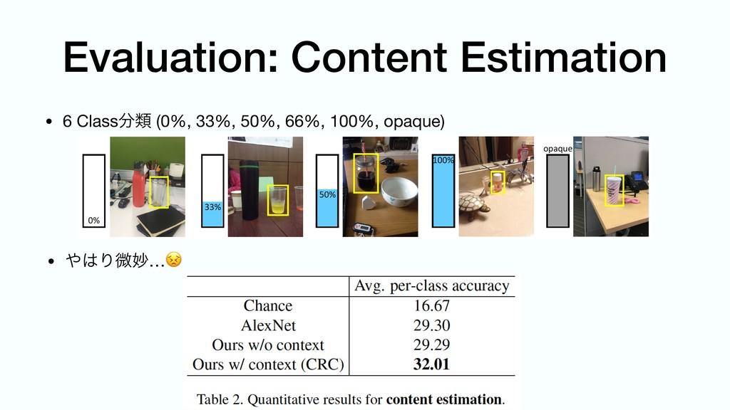 Evaluation: Content Estimation • Γඍົ… • 6 Cla...