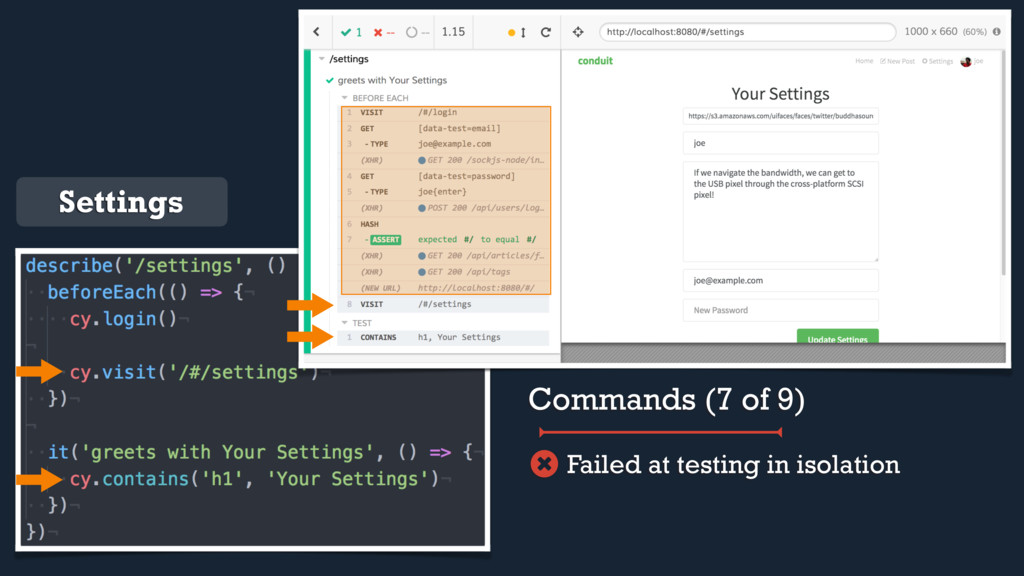 Settings Commands (7 of 9) Failed at testing in...