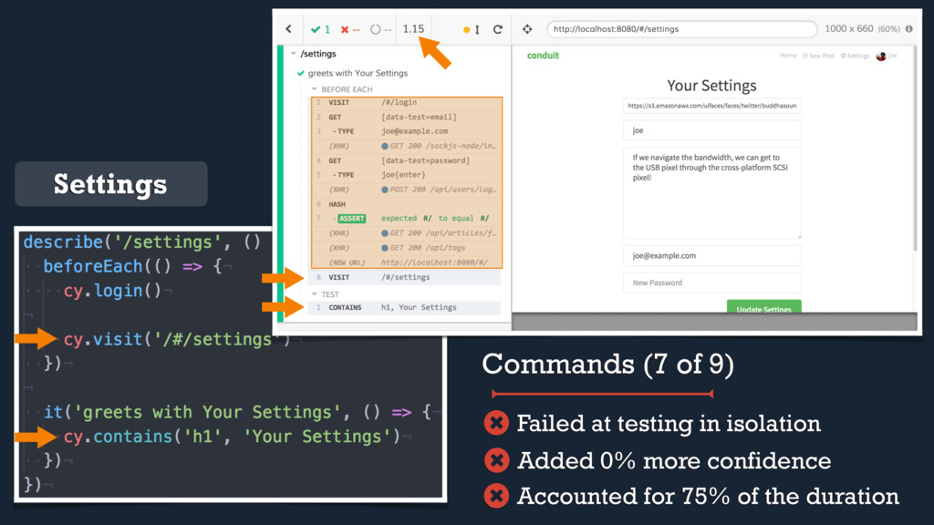 Settings Commands (7 of 9) Accounted for 75% of...