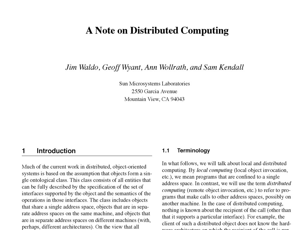 A Note on Distributed Computing Jim Waldo, Geof...