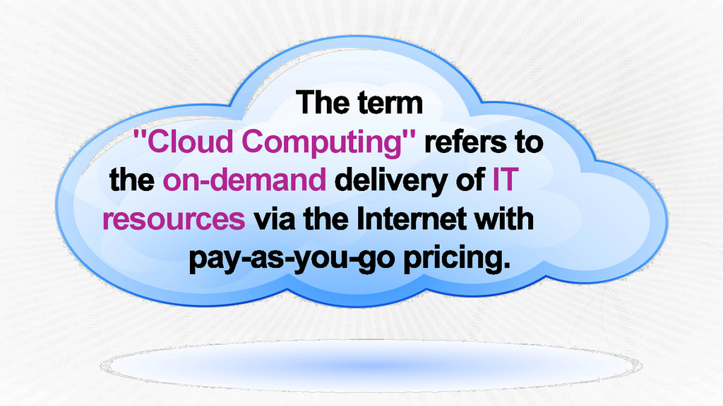 """Cloud Computing"" on-demand IT resources"