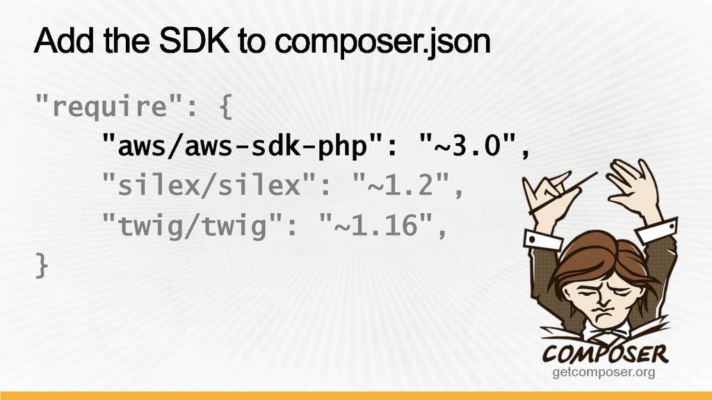 """require"": { ""aws/aws-sdk-php"": ""~3.0"", ""silex/..."