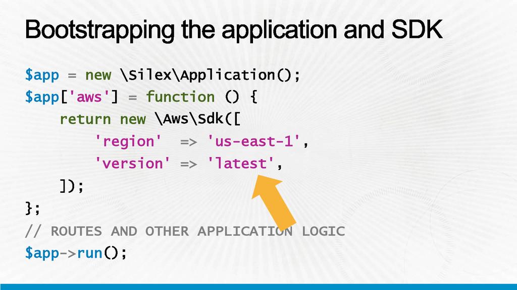 $app = new $app 'aws' = function return new 're...
