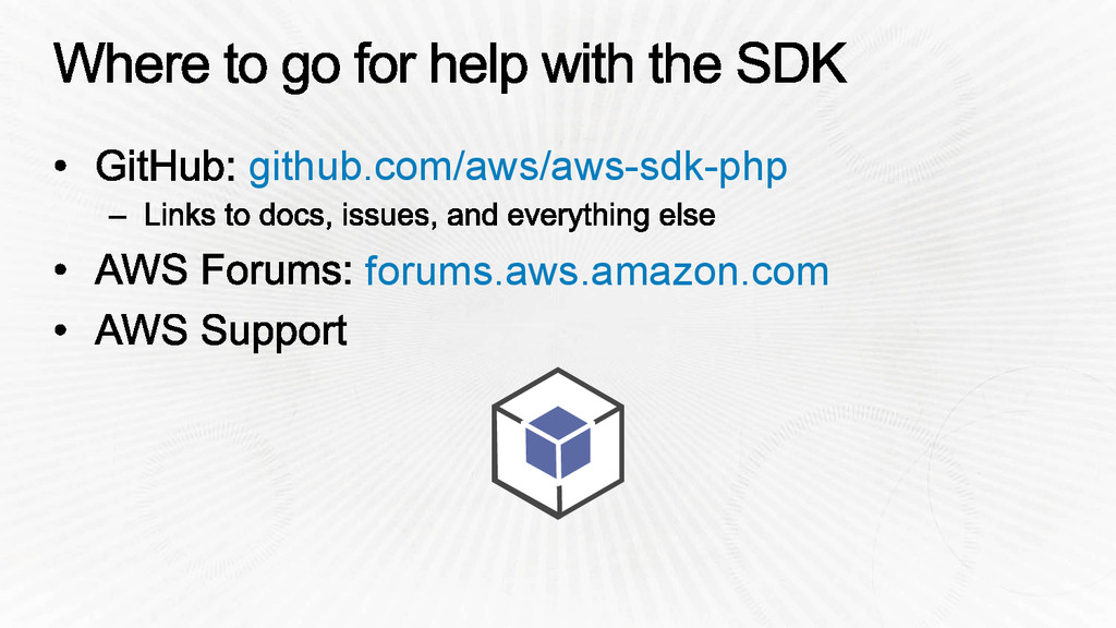 github.com/aws/aws-sdk-php forums.aws.amazon.com