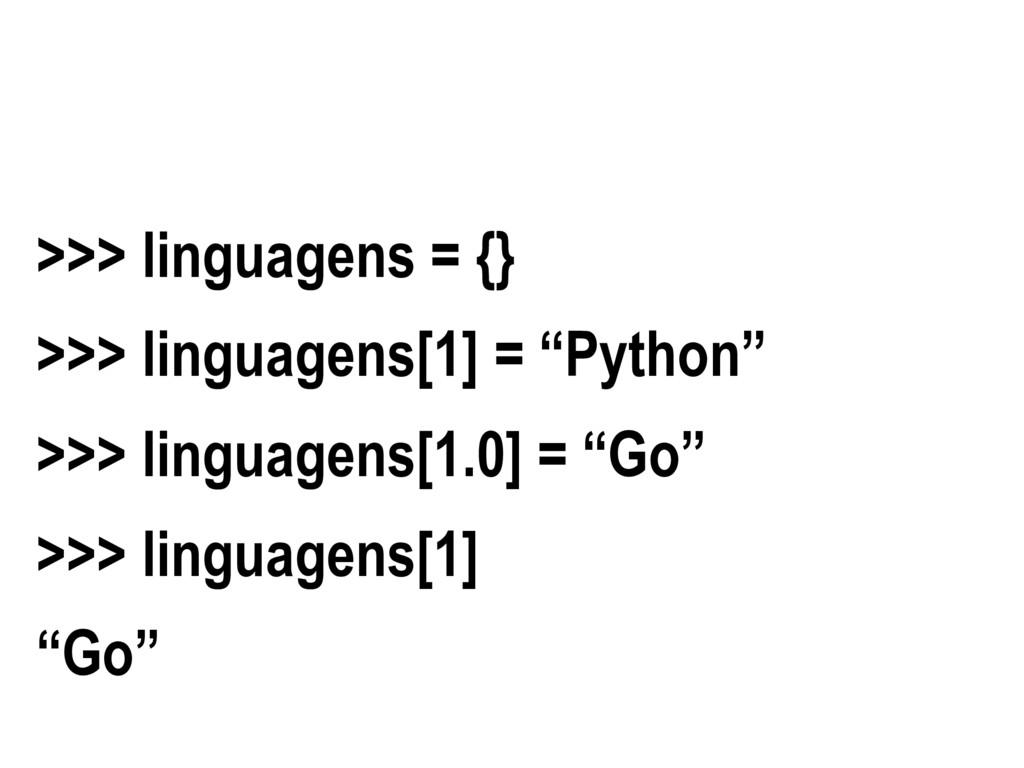 """>>> linguagens = {} >>> linguagens[1] = """"Python..."""