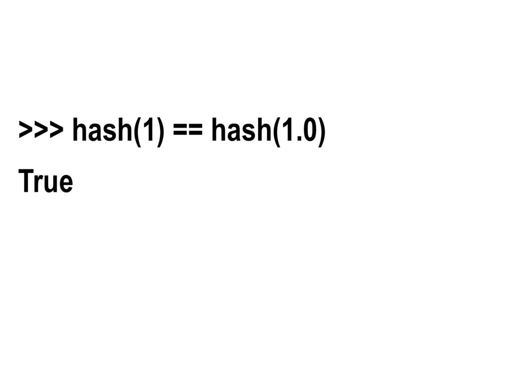 >>> hash(1) == hash(1.0) True