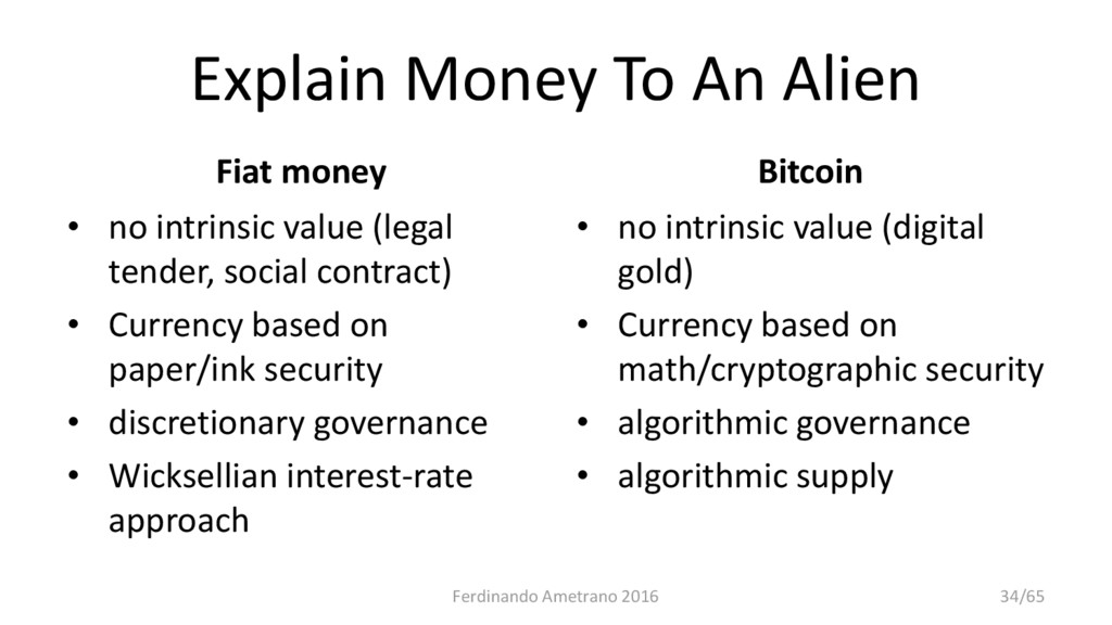 Explain Money To An Alien Fiat money • no intri...