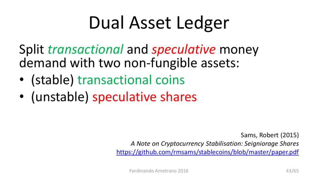 Dual Asset Ledger Split transactional and specu...