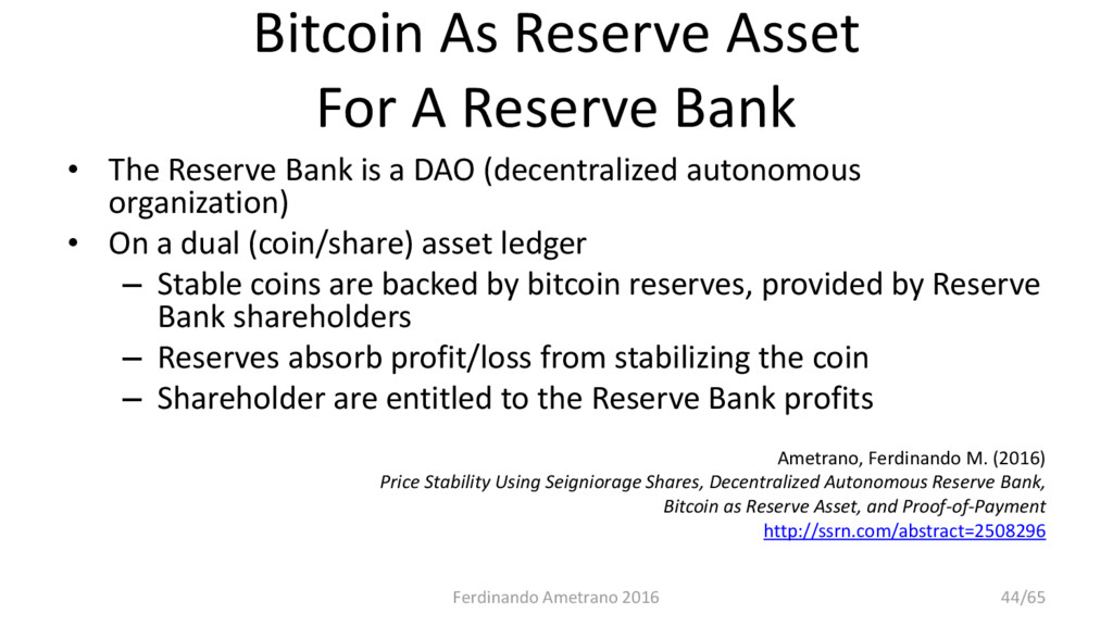 Bitcoin As Reserve Asset For A Reserve Bank • T...