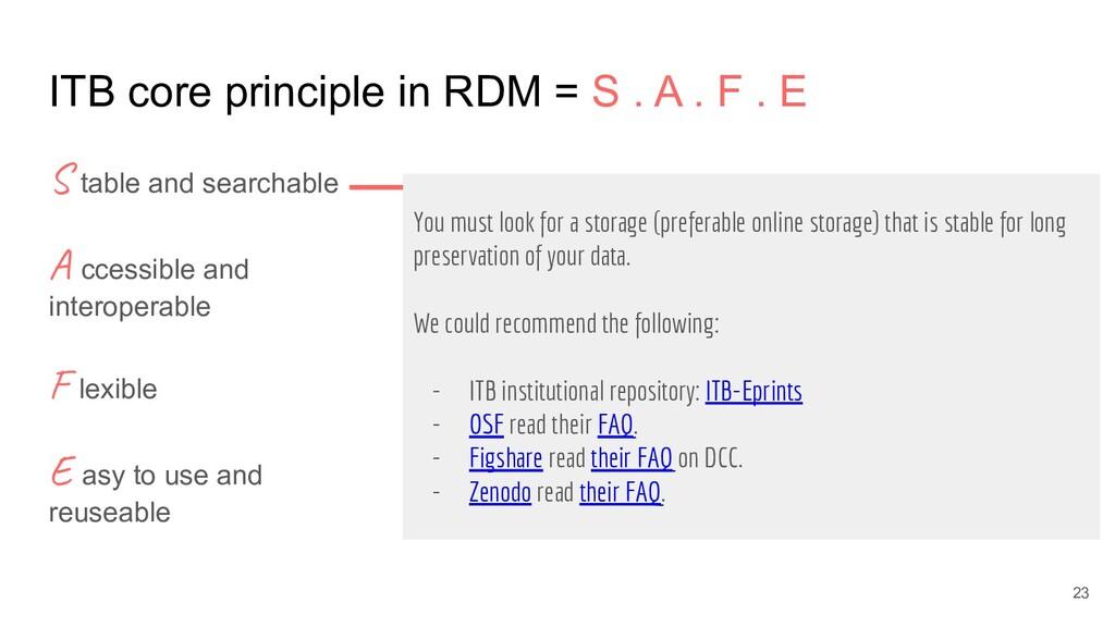 ITB core principle in RDM = S . A . F . E S tab...